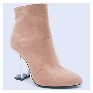 Blush Ranker Boot – Faux Suede, Clear Heel